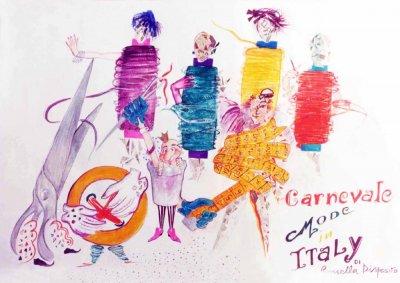 bozzetto Carnevale mode in Italy di Rossella Disposito - Mascherate di Gruppo - Carnevale di Viareggio 1987