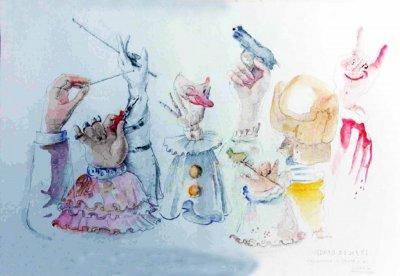 bozzetto Giochi di mani di Gionata Francesconi - Mascherate di Gruppo - Carnevale di Viareggio 1987