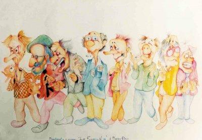 bozzetto La fumaraglia di Marzia Etna - Mascherate di Gruppo - Carnevale di Viareggio 1987