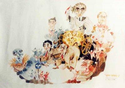 bozzetto Quo vadis? di Paolo Lazzari - Carri grandi - Carnevale di Viareggio 1987
