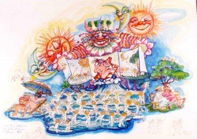 bozzetto È un nido d'amor di Giulio Palmerini (cons. Nilo Lenci) - Carri grandi - Carnevale di Viareggio 1988