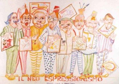 bozzetto Il neoespressionismo di Umberto Cinquini - Mascherate di Gruppo - Carnevale di Viareggio 1988
