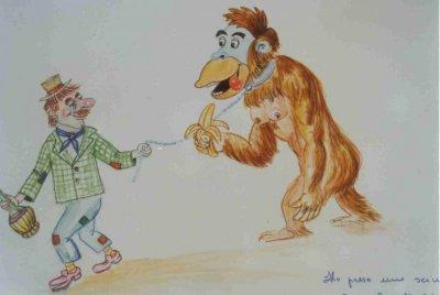 bozzetto Ho preso una scimmia di Maria Grazia Canova - Maschere Isolate - Carnevale di Viareggio 1989