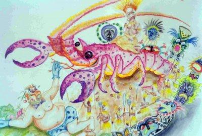 bozzetto Il piatto ride, il piatto piange di Fabrizio Galli - Carri piccoli - Carnevale di Viareggio 1989