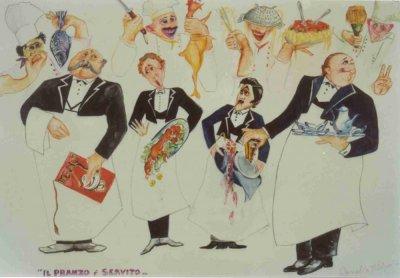 bozzetto Il pranzo è servito di Rossella Disposito - Mascherate di Gruppo - Carnevale di Viareggio 1989