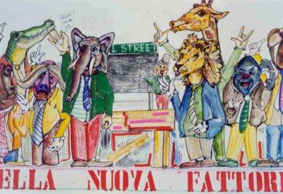 bozzetto Nella nuova fattoria di Umberto Cinquini - Mascherate di Gruppo - Carnevale di Viareggio 1989