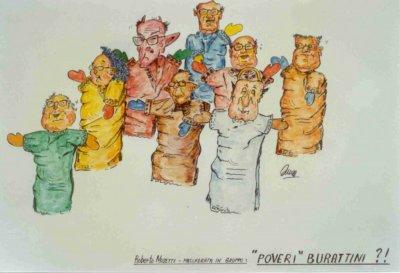 bozzetto Poveri burattini di Roberto Musetti - Mascherate di Gruppo - Carnevale di Viareggio 1989