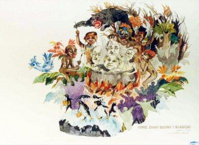 bozzetto Come sono buoni i bianchi di Giovanni Maggini - Carri grandi - Carnevale di Viareggio 1990