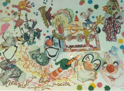 bozzetto Coriandoli in libera uscita di Laura Canova - Complessi mascherati - Carnevale di Viareggio 1990