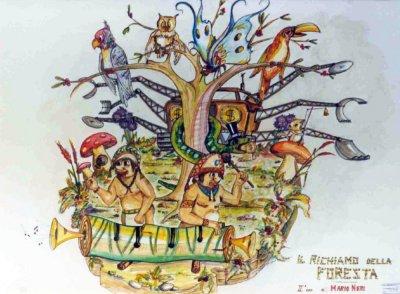 bozzetto Il richiamo della foresta di Mario Neri - Carri piccoli - Carnevale di Viareggio 1990