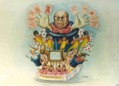 bozzetto L'illusionista di Silvano Avanzini - Carri grandi - Carnevale di Viareggio 1990