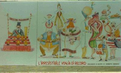 bozzetto L'irresistibile voglia di record di Roberto Vannucci - Mascherate di Gruppo - Carnevale di Viareggio 1990