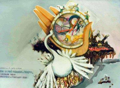 bozzetto Non si può fermare il tempo di Arnaldo Galli - Carri grandi - Carnevale di Viareggio 1990