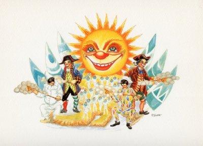 bozzetto Questo è il paese del sole di Raffaello Giunta - Carri grandi - Carnevale di Viareggio 1990