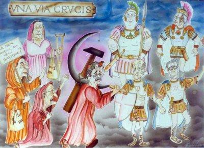 bozzetto Una via crucis di Emilio Cinquini - Complessi mascherati - Carnevale di Viareggio 1990